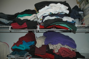 Messy closet shelves