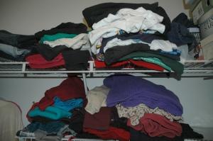 Messy closet shelves